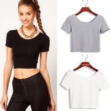 New women's crop top ladies short sleeve stretch lady t shirt 2015 SV007416