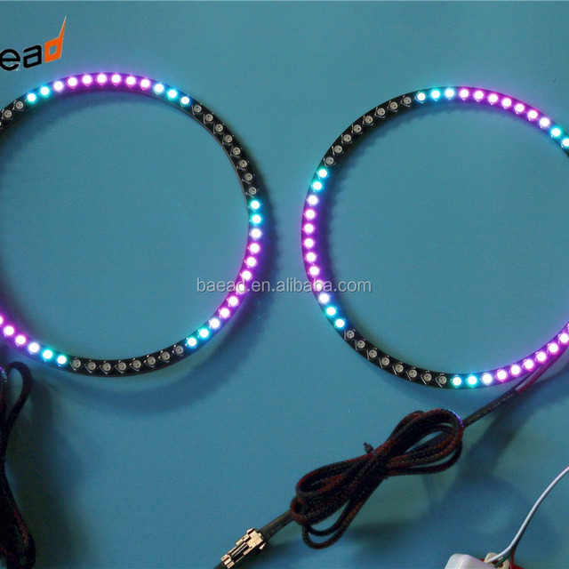 color changing magic LED halo rings kit angel eyes 70mm for universal car