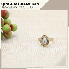 R0053 gold Fashion ring White stone Durostone latest gold finger ring Fashion ring designs