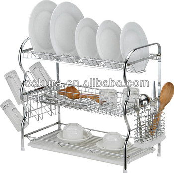 3 TIER CHROME WIRE DISH RACK PLATE DRYING RACK FOR KITCHEN