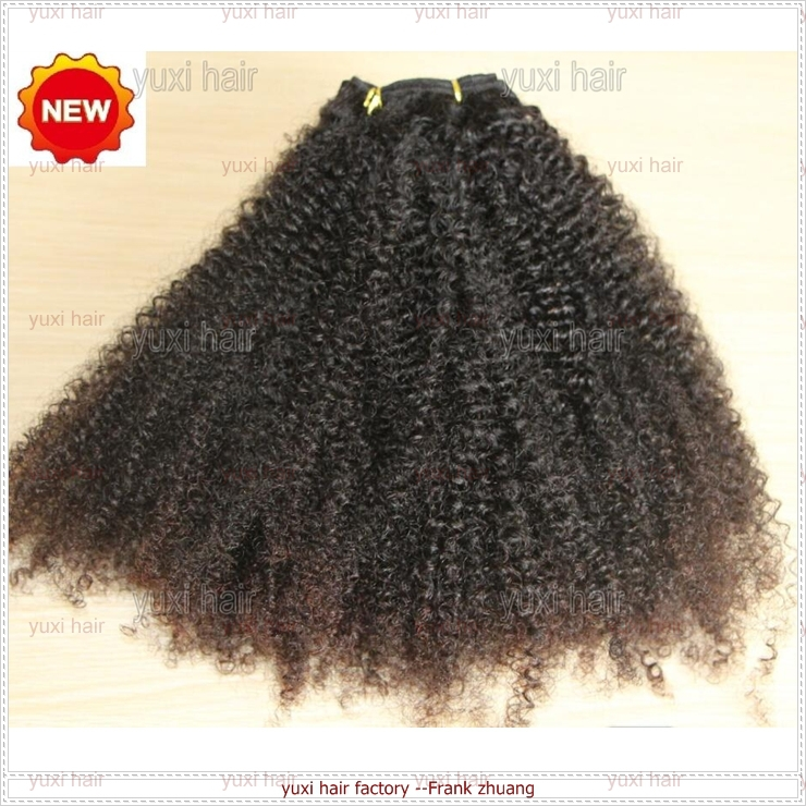 113g/pc in stock natural color remy kinky afro hair weave clip in hair extension