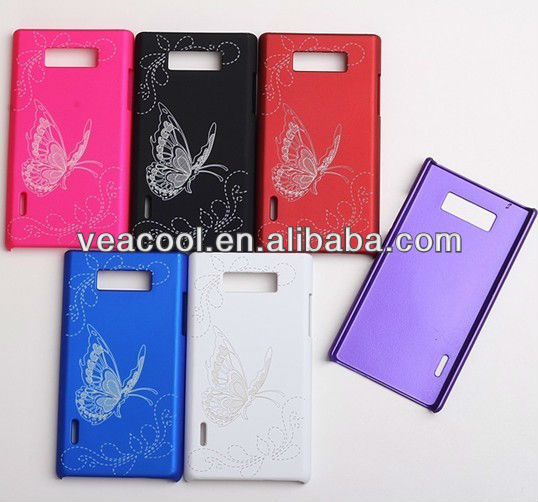 Butterfly Rubber Hard Case for LG Optimus L7 P705 P700
