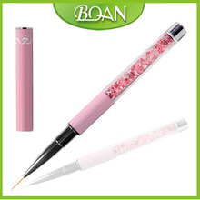 2016 BQAN Beautiful Pink Crystal Thin Nail Art Liner Brush Metal Handle Nail Brush For Medicure