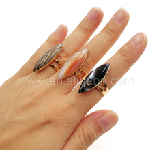 WT-R252 Amazing Natural Horse Eye Agate Ring,Beautiful Pattern Agate Ring With Gold Plated Edge,Raw Gemstone Ring In Adjustable