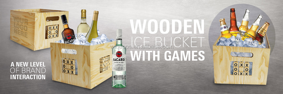 wooden ice bucket with game;new bowl ice bucket,wooden ice bucket with inner plastic