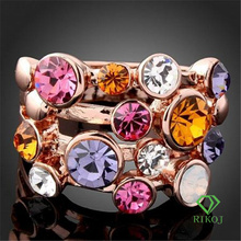 Jewelry multi crystal rose gold plating fashion rings