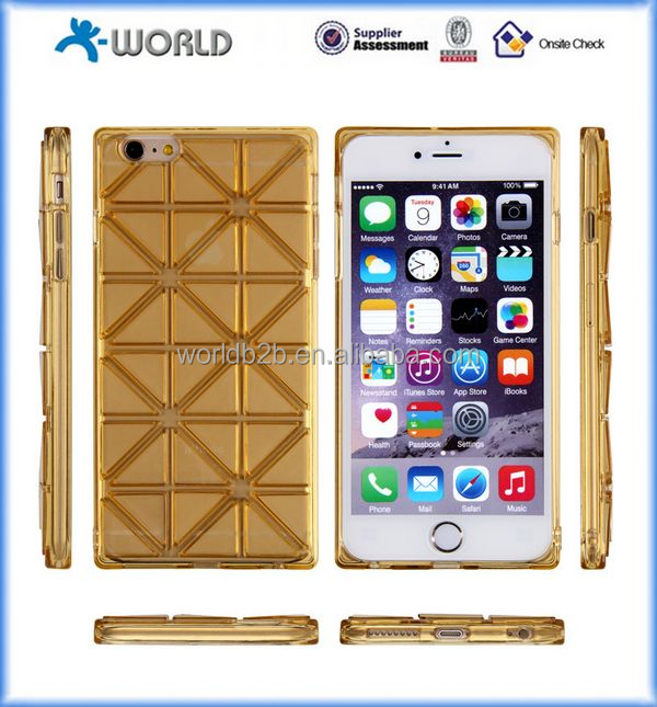 high quality colorful soft square lattice TPU Case Cover for iphone 6/6 plus/6S, case for iphone 6