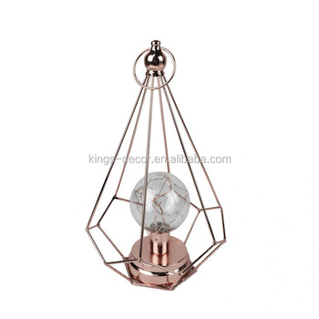 The pyramid shape rose golden plating LED candle holder