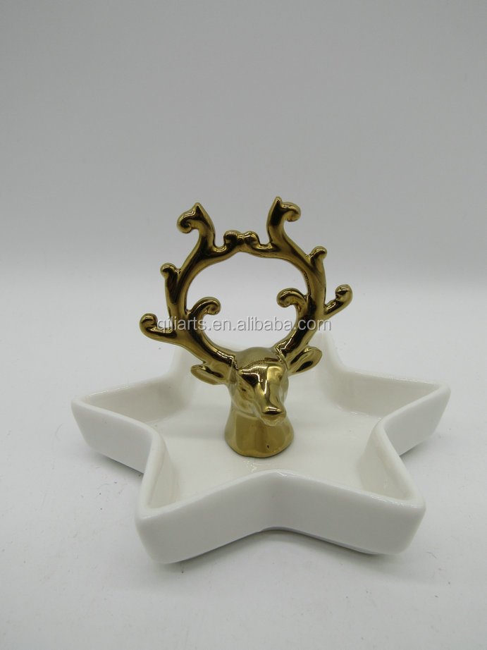 gold ceramic antler jewelry holder with ring dish