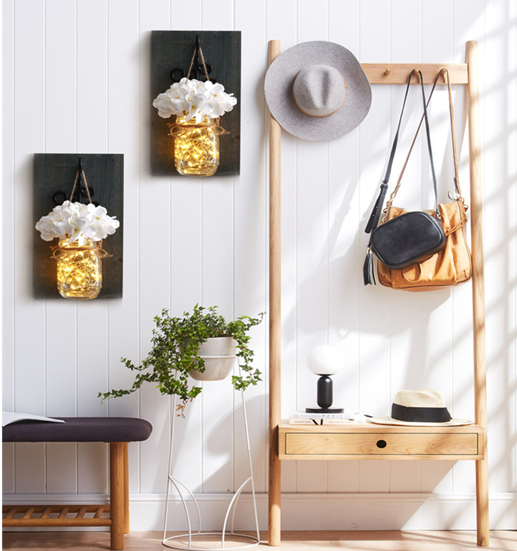Wood Decorative Wall Decor Rustic Hanging Mason Jar Sconces with LED Fairy Lights and Flowers