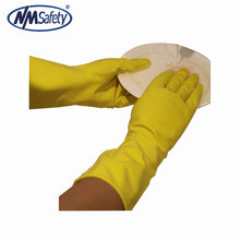 NMSAFETY yellow latex long cuff household working rubber gloves