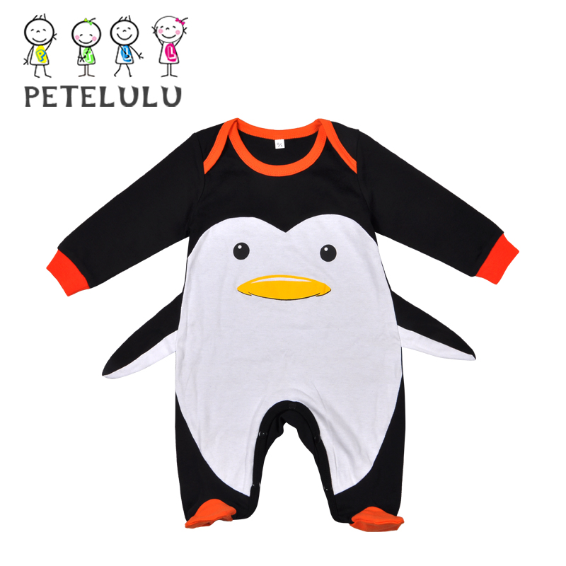 3D Design Fooded Newborn Romper Penguin Animal Design Baby Boy Clothes