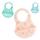 animal waterproof silicone baby children feeding bibs custom packaging with catcher manufacturer