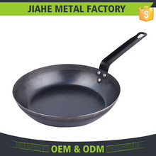 High quality carbon steel frying pan with steel handle