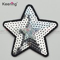 7.5*7.5cm Iron on Sew on silver star Sequin Patch WEFB-023