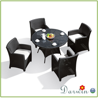 Outdoor Round Table with Umbrella Hole and Rattan Dining Chair SV-2702
