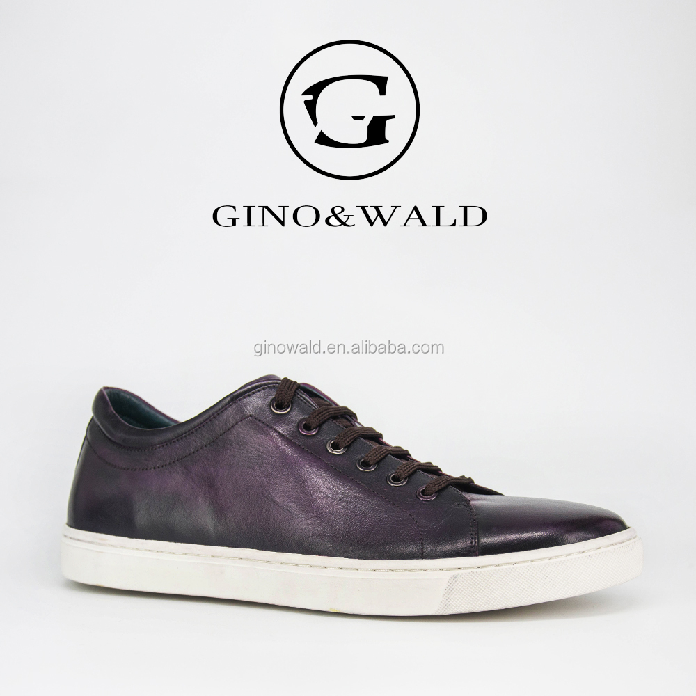 GINOWALD manufacturer quality genuine leather handmade sneakers