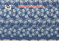 Embroidered with stones and beads organza guipure lace fabric OL10004 royalblue