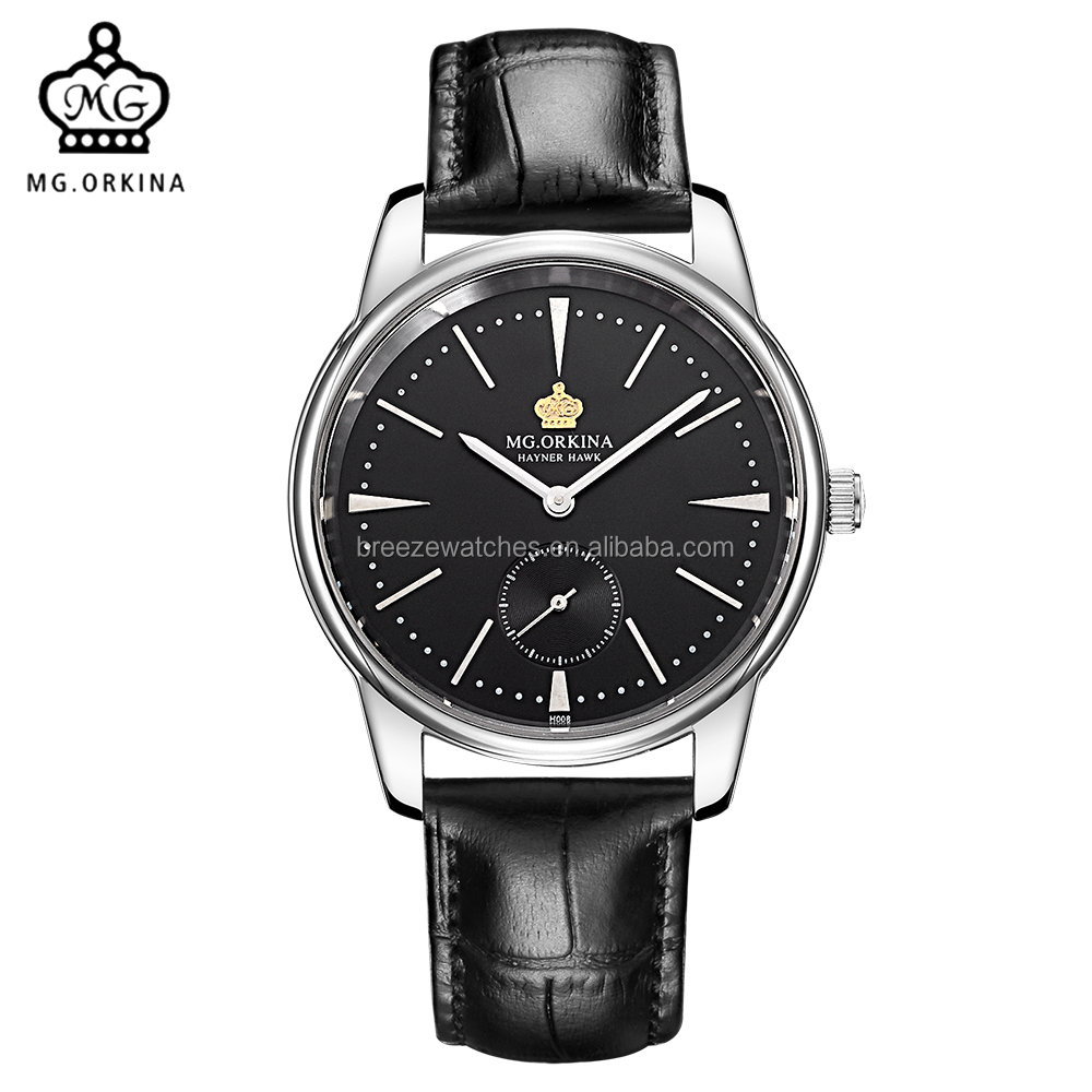 MG. ORKINA Man Watch Small Second Hand Dial Leather Strap Japan Quartz Movement Ment Stainless Steel Case Sapphire Wristwatch