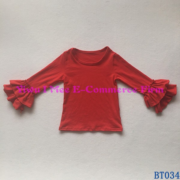 Latest Designs Girls Top Boutique Kids Plain Red Cotton Double Ruffles Long Sleeves Shirts