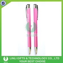 Pink Color Laser Logo Print Cheap Metal Pens