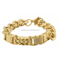 China Wholesale Jewelry with Stainless Steel 18k Gold Solid Metal Bracelet for Men