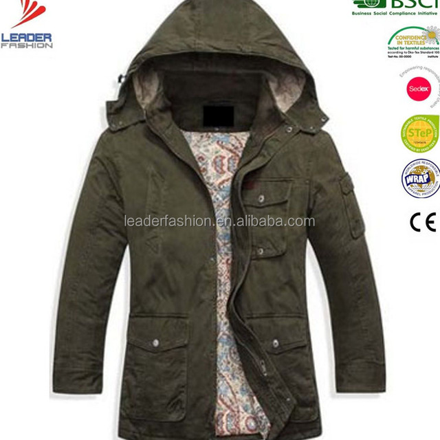 100% Cotton Canvas Casual Long Quilted Parka Jacket for Mens in winter