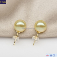 wholesale 9-10 mm south sea pearl earrings gold