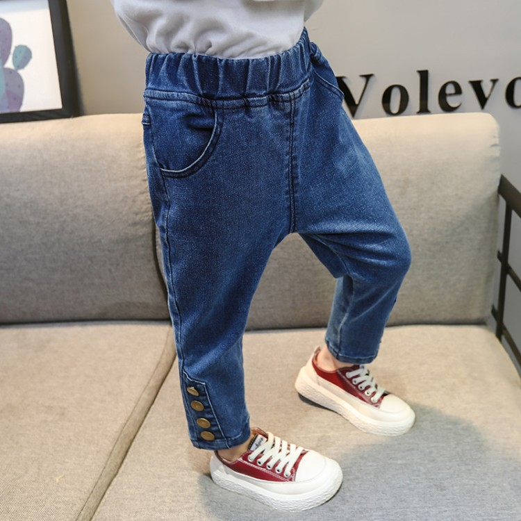 2019 New Spring Autumn Children Trousers Fashion Cotton Button Pants Baby Wild Jeans