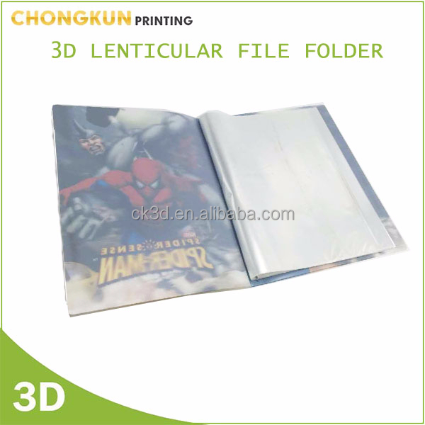 Custom lenticular printing file folder, office stationery pp plastic pockets file folder A4 size
