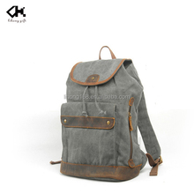Fashion trim with leather washed vintage canvas backpack wholesale