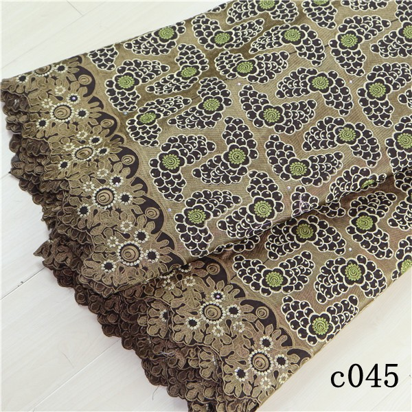 2015 New bulk lace fabric classical beauty and High quality 100% cotton African swiss voile lace fabric C045