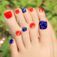 Hot selling new design fashion nails art, colorful toe nail sticker for lady