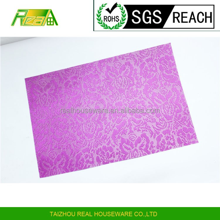 hot sale anti oil purple shinning color jacquard plastic dinning table mat pvc woven placemat