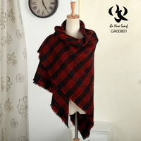 2015 New!!Factory Direct Sale Red and Black Check Pattern Cashmere Acrylic Shawl