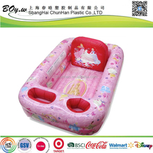 BSCI factory testing OEM thick air basin pink girl infant wash pvc baby inflatable bathtub toys