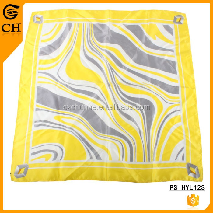 Summer Beach Style Yellow Ripple Silk Ladies' Handkerchiefs