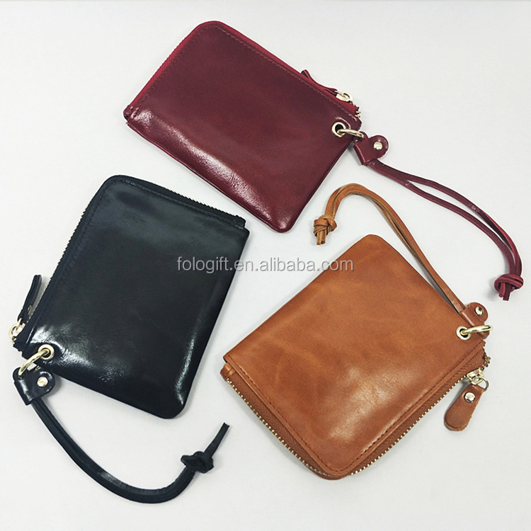 2017 Most popular Rifd blocking Genuine leather small women wallet coin purse with 6 card slots