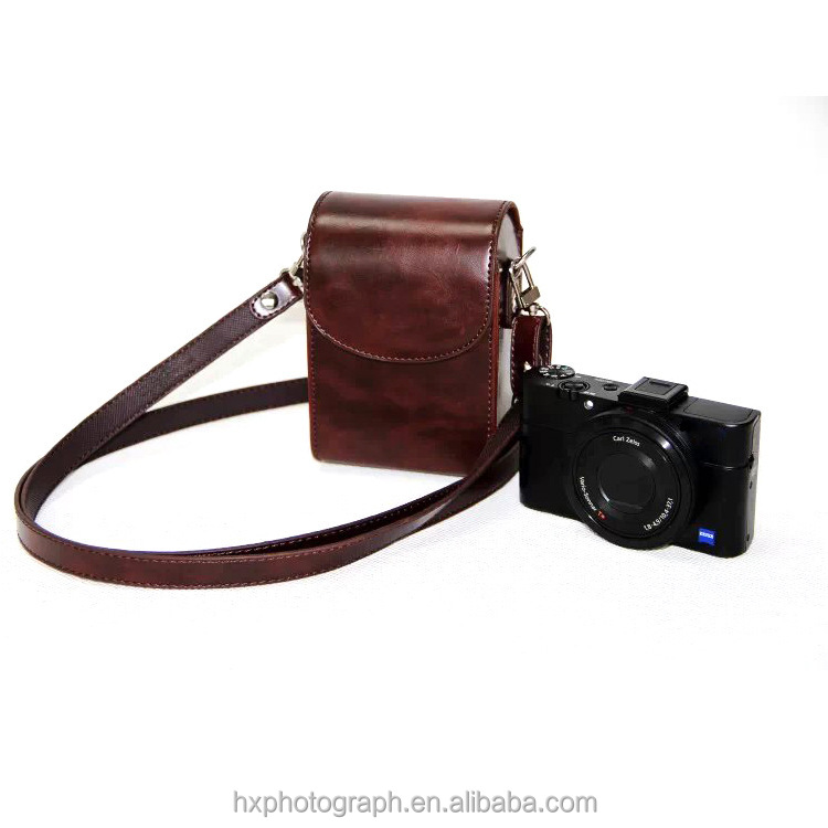 Wholesale Price Retro Style PU Leather Camera Case for Sony RX100 III M3