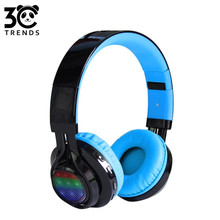 wireless stereo sport Foldable Bluetooth headset with a microphone TF card FM LED headphones give children the best gift