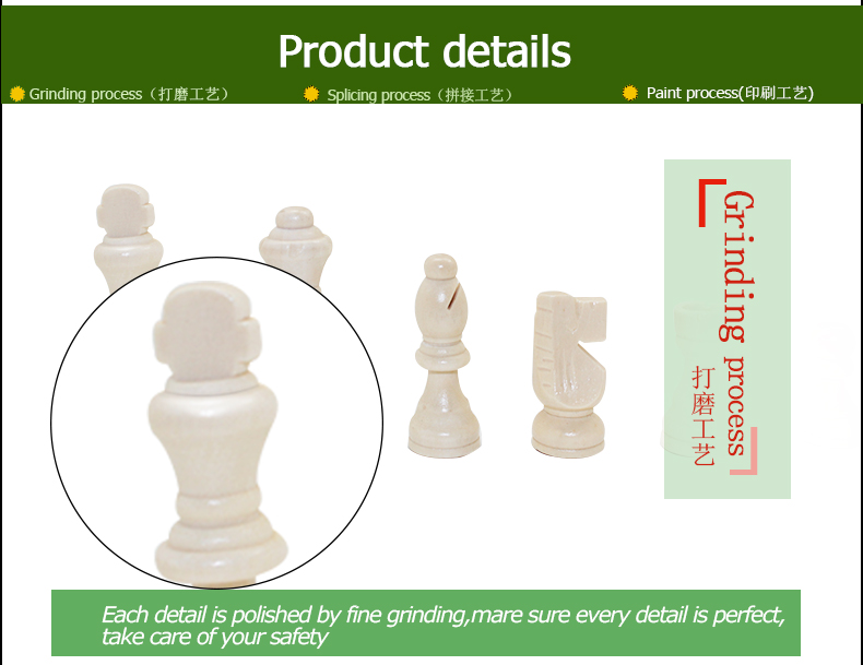 "Inlaid Wooden Travel Chess Set Folding Board with 2.5"" King"