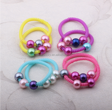 factory shipping 2015 new style printed thin telephone wire hair band with beads,spiral hairband