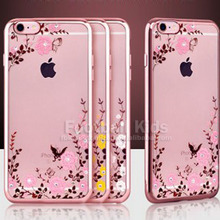 Rhinestone case for iphone 6 rubber plating TPU soft case cover,electroplating tpu back cover for iphone
