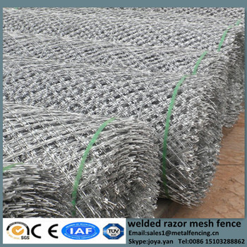Diamond grill razor mesh fences hot dip galvanized BTO type barbed wire barriers concertina razor wire welded fencing suppliers