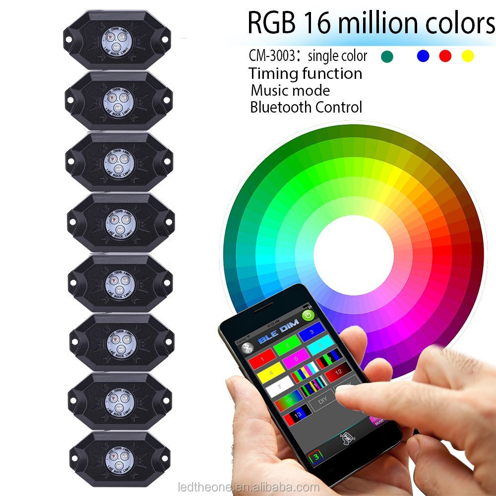 Super Brightness 4/6/8/12Xpods Kit Bluetooth App Phone Control IP68 RGB Color Changing Led Rock Lights Off-Road UnderBody