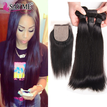 Wholesale top sale real human hair malaysian straight hair with closure