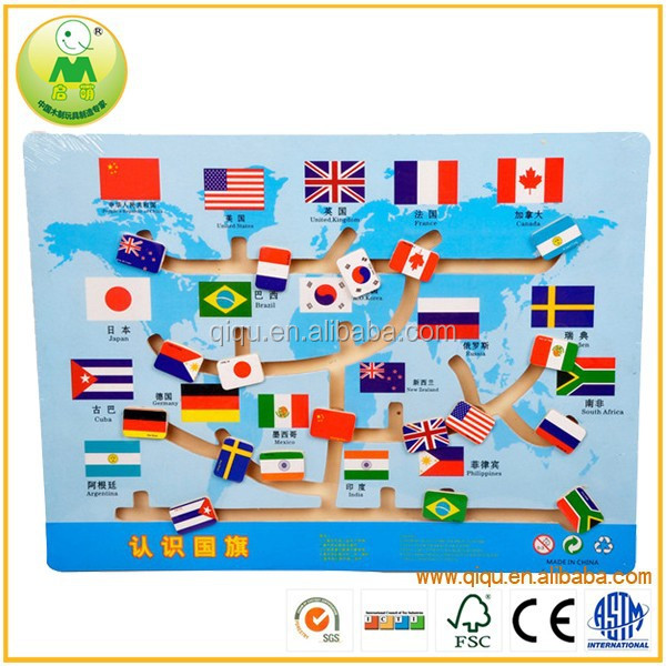 Wooden Educational Flag Game Children Learning Toys