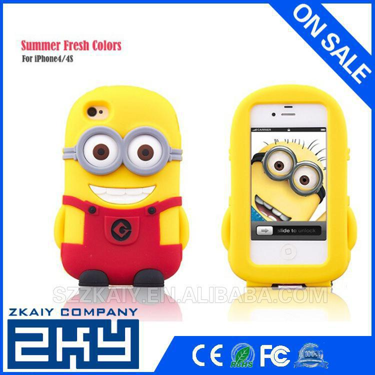 Wholesale Custom 3d minion Case for apple iPhone 4 4s