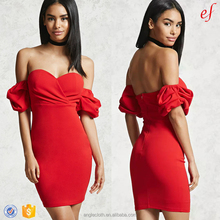 2018 New Fashion Off-Shoulder Sweetheart Neckline Short Balloon Sleeve Women Red Bodycon Dress