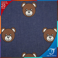 Popular fashion print denim fabric / cartoon printed denim fabric for children clothes